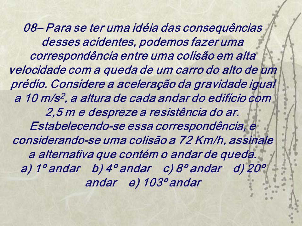 08– Para se ter uma idéia das consequências desses acidentes, podemos fazer uma correspondência entre uma colisão em alta velocidade com a queda de um