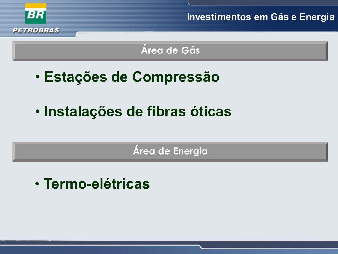 Investimentos em Gás e Energia Área de Gás Estações de Compressão Instalações de fibras óticas Área de Energia Termo-elétricas