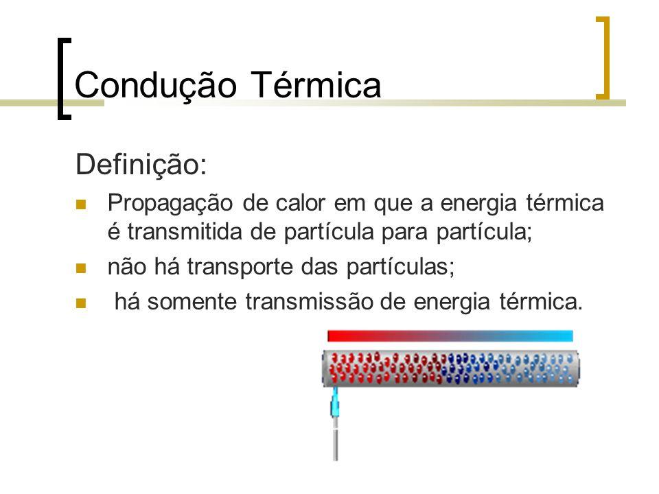 Condução Térmica Definição: Propagação de calor em que a energia térmica é transmitida de partícula para partícula; não há transporte das partículas; há somente transmissão de energia térmica.