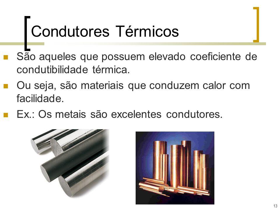 13 Condutores Térmicos São aqueles que possuem elevado coeficiente de condutibilidade térmica. Ou seja, são materiais que conduzem calor com facilidad