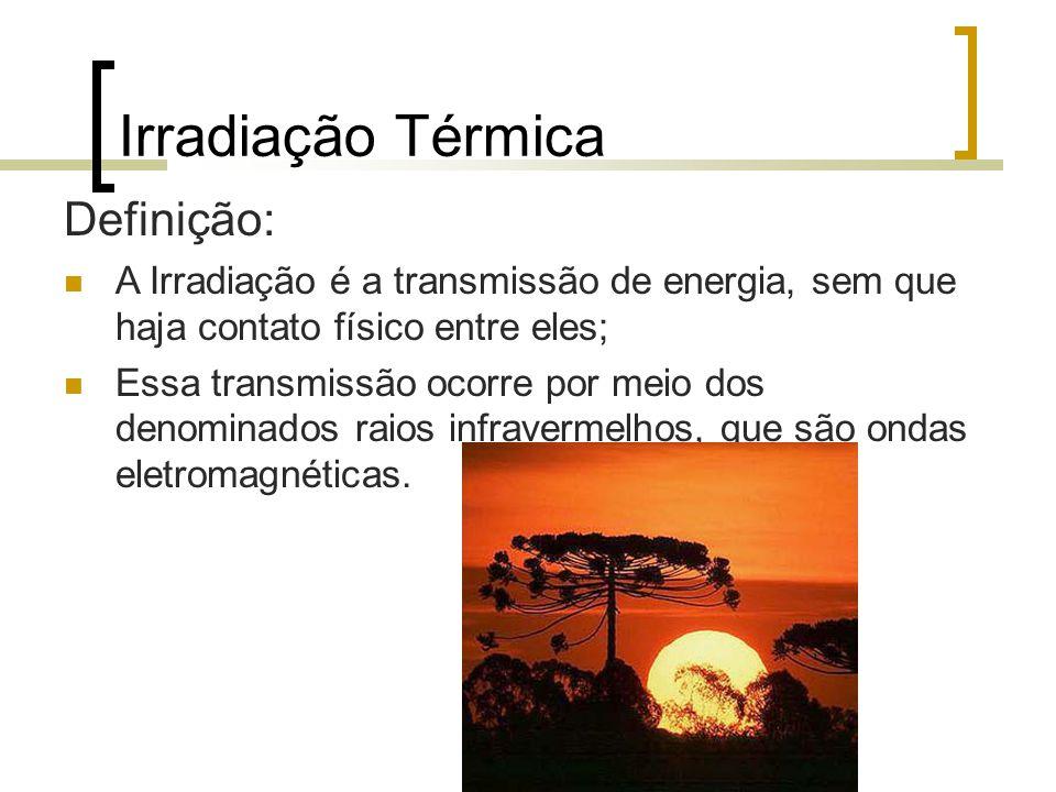 Irradiação Térmica Definição: A Irradiação é a transmissão de energia, sem que haja contato físico entre eles; Essa transmissão ocorre por meio dos denominados raios infravermelhos, que são ondas eletromagnéticas.