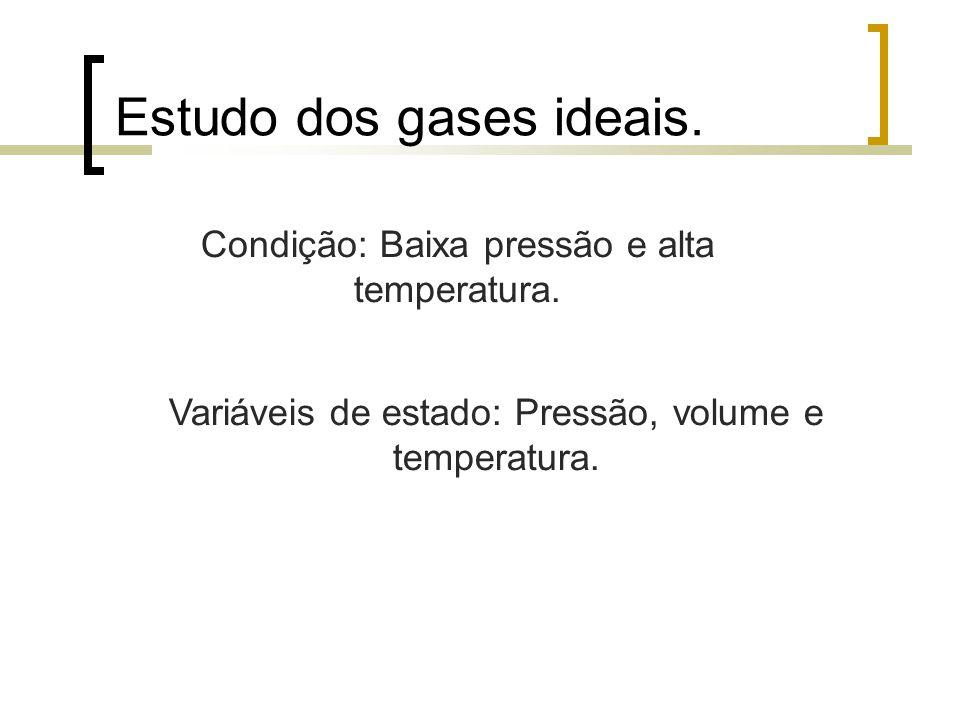 Estudo dos gases ideais. Variáveis de estado: Pressão, volume e temperatura. Condição: Baixa pressão e alta temperatura.