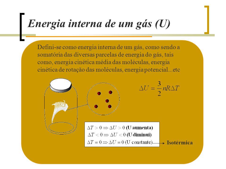 Energia interna de um gás (U) Defini-se como energia interna de um gás, como sendo a somatória das diversas parcelas de energia do gás, tais como, energia cinética média das moléculas, energia cinética de rotação das moléculas, energia potencial...etc Isotérmica