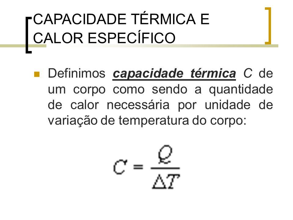 CAPACIDADE TÉRMICA E CALOR ESPECÍFICO Definimos capacidade térmica C de um corpo como sendo a quantidade de calor necessária por unidade de variação de temperatura do corpo: