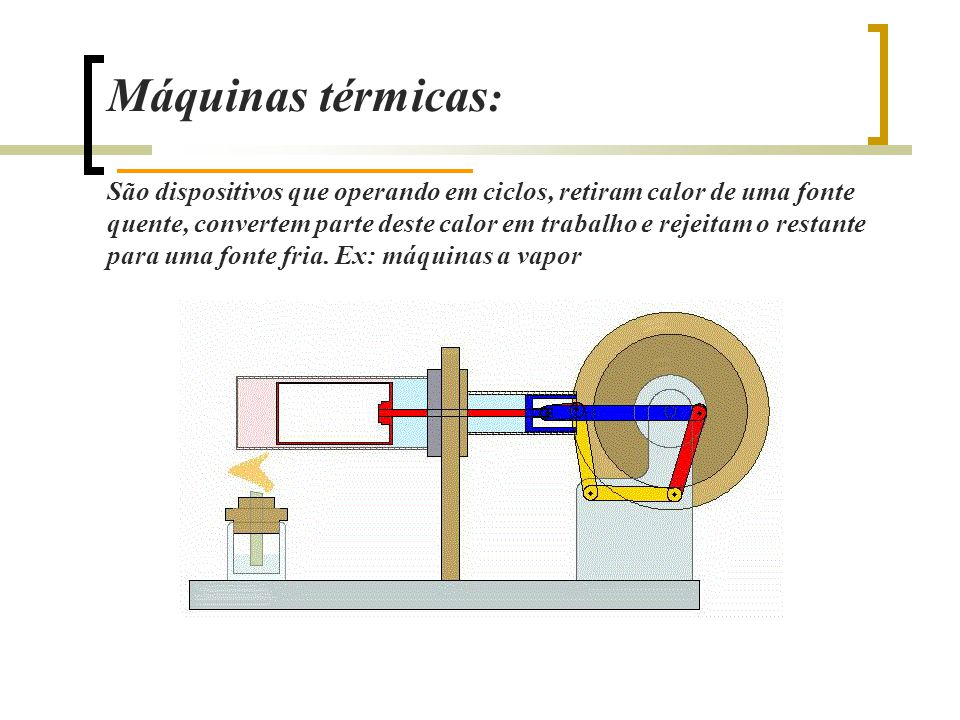 Máquinas térmicas : São dispositivos que operando em ciclos, retiram calor de uma fonte quente, convertem parte deste calor em trabalho e rejeitam o restante para uma fonte fria.
