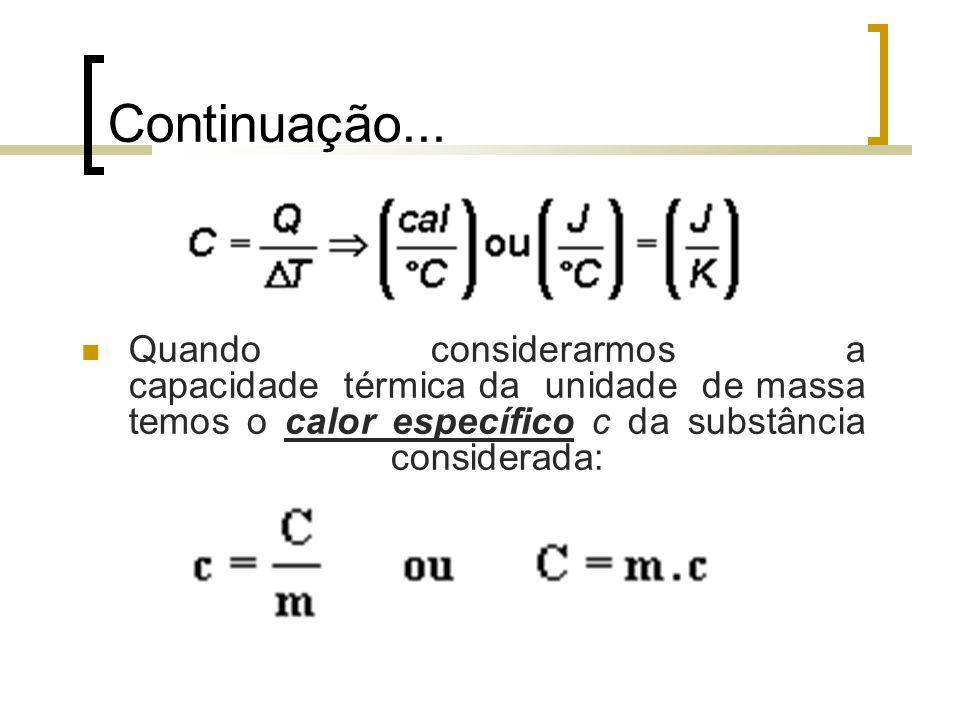 Continuação... Quando considerarmos a capacidade térmica da unidade de massa temos o calor específico c da substância considerada: