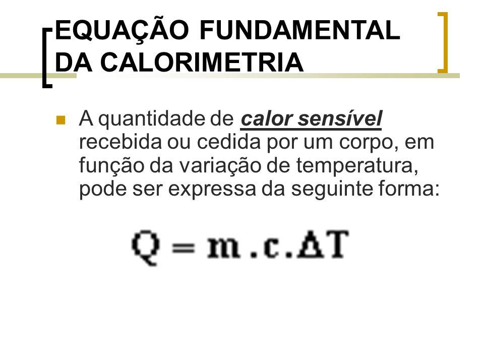 EQUAÇÃO FUNDAMENTAL DA CALORIMETRIA A quantidade de calor sensível recebida ou cedida por um corpo, em função da variação de temperatura, pode ser expressa da seguinte forma: