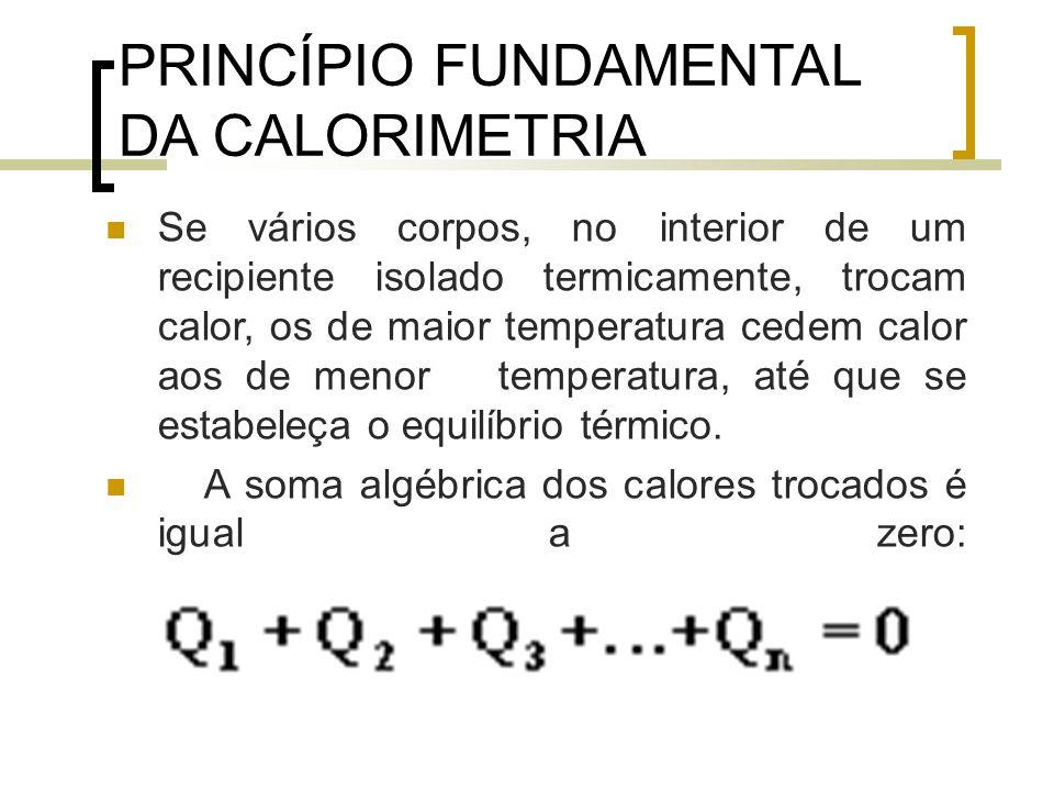 PRINCÍPIO FUNDAMENTAL DA CALORIMETRIA Se vários corpos, no interior de um recipiente isolado termicamente, trocam calor, os de maior temperatura cedem