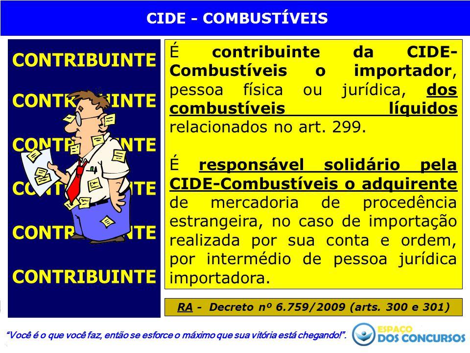 CONTRIBUINTE CONTRIBUINTE CONTRIBUINTE CONTRIBUINTE CONTRIBUINTE CONTRIBUINTE É contribuinte da CIDE- Combustíveis o importador, pessoa física ou jurí