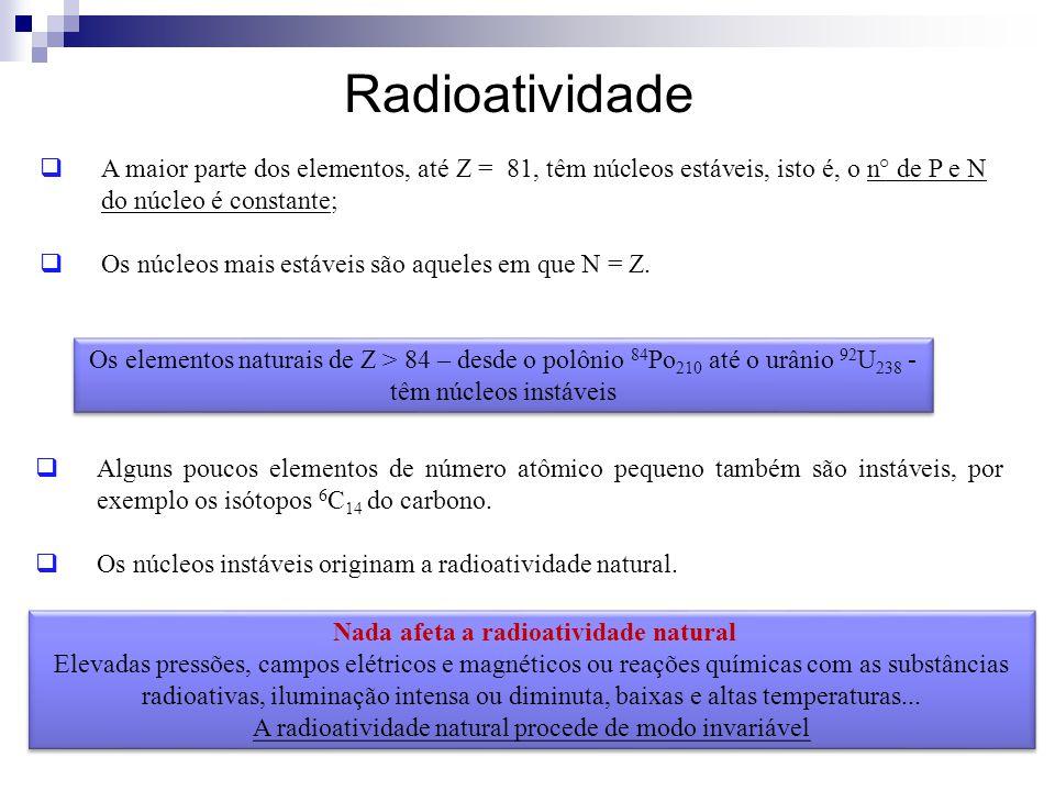 Radioatividade  A maior parte dos elementos, até Z = 81, têm núcleos estáveis, isto é, o n° de P e N do núcleo é constante;  Os núcleos mais estávei