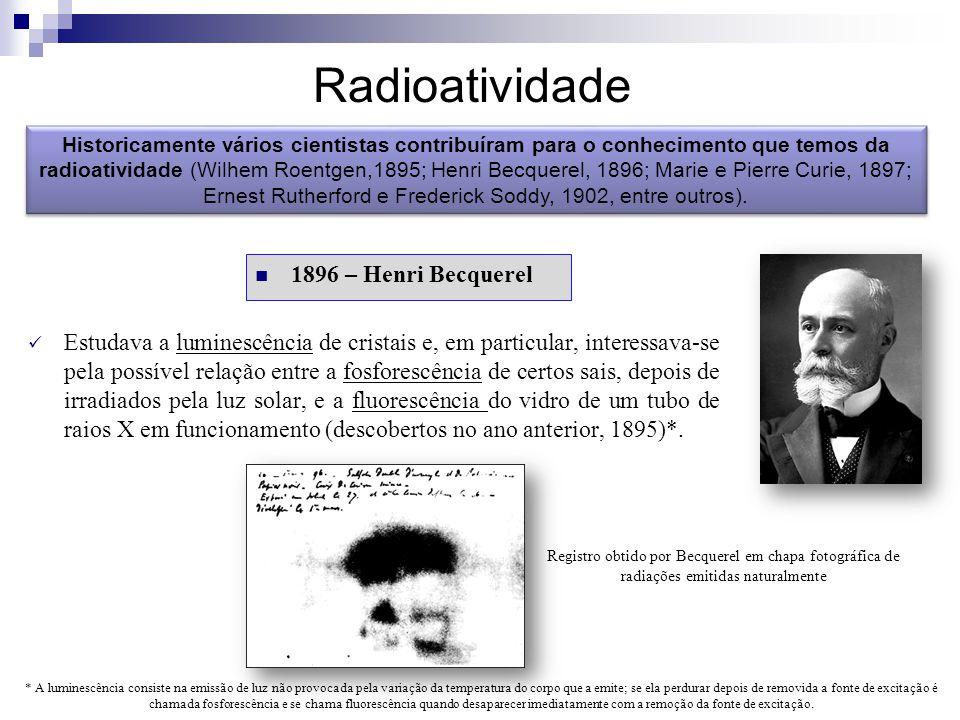 Radioatividade Historicamente vários cientistas contribuíram para o conhecimento que temos da radioatividade (Wilhem Roentgen,1895; Henri Becquerel, 1