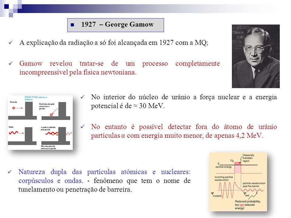 1927 – George Gamow A explicação da radiação a só foi alcançada em 1927 com a MQ; Gamow revelou tratar-se de um processo completamente incompreensível