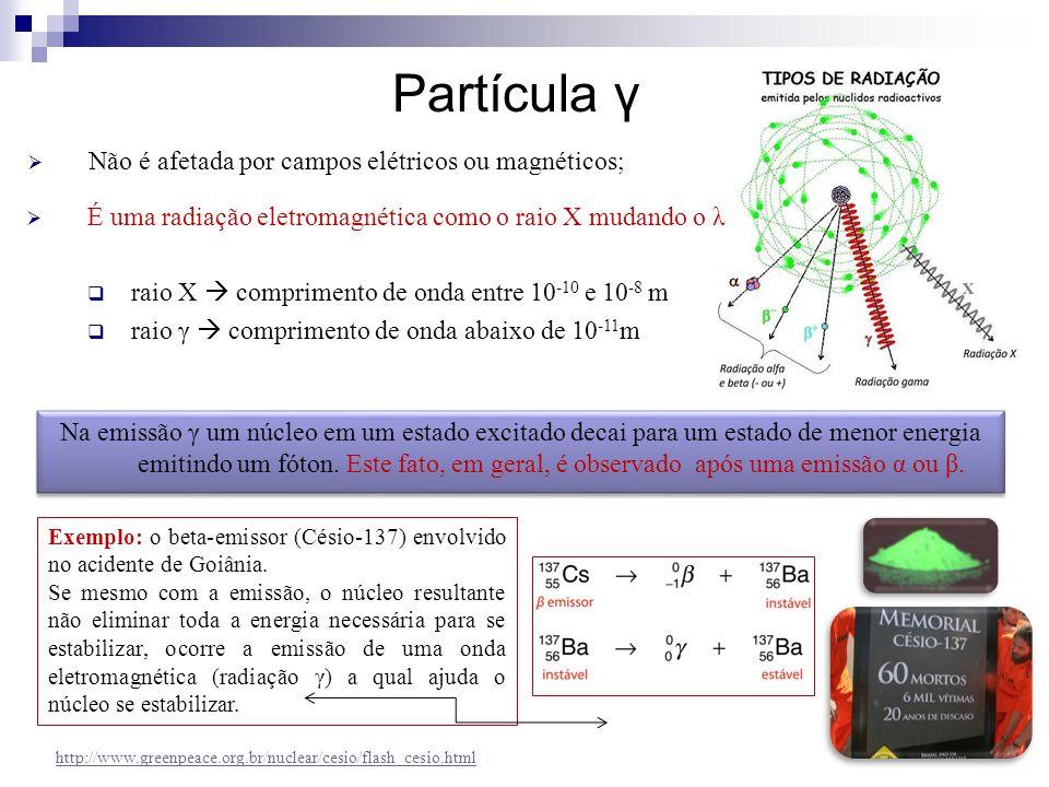  É uma radiação eletromagnética como o raio X mudando o λ  raio X  comprimento de onda entre 10 -10 e 10 -8 m  raio γ  comprimento de onda abaixo