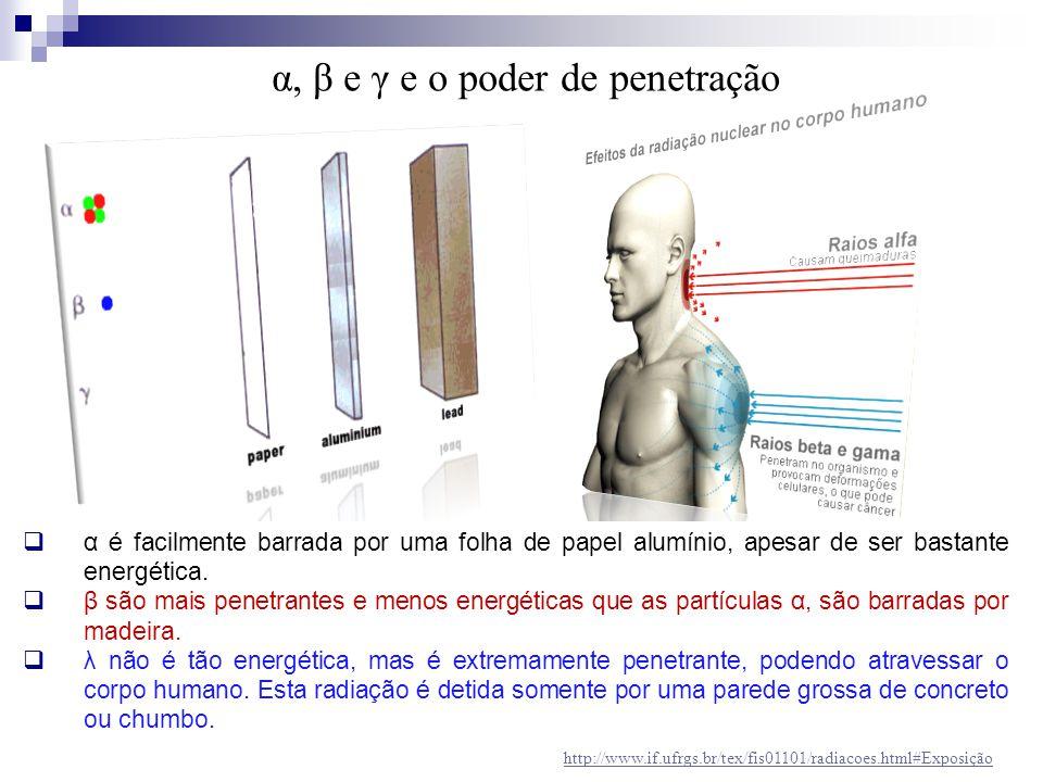 α, β e γ e o poder de penetração  α é facilmente barrada por uma folha de papel alumínio, apesar de ser bastante energética.  β são mais penetrantes