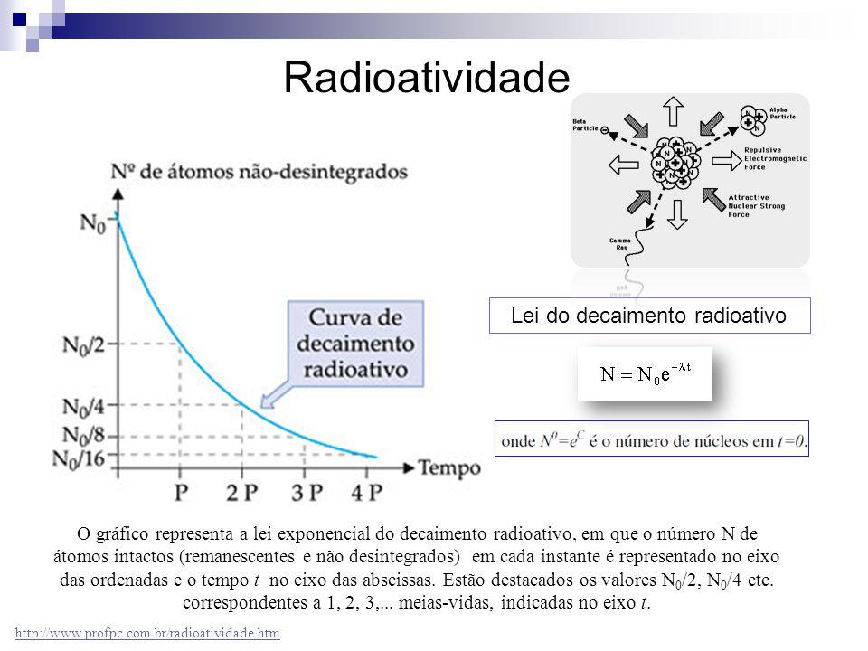 O gráfico representa a lei exponencial do decaimento radioativo, em que o número N de átomos intactos (remanescentes e não desintegrados) em cada inst