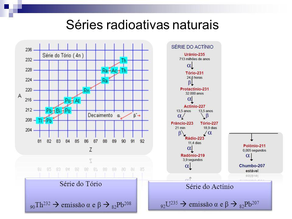 Séries radioativas naturais Série do Tório 90 Th 232  emissão α e β  82 Pb 208 Série do Tório 90 Th 232  emissão α e β  82 Pb 208 Série do Actínio