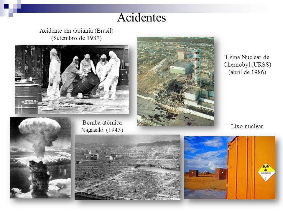 Acidente em Goiânia (Brasil) (Setembro de 1987) Acidentes Usina Nuclear de Chernobyl (URSS) (abril de 1986) Lixo nuclear Bomba atômica Nagasaki (1945)