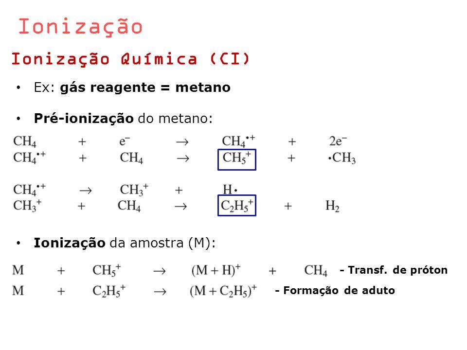 Ionização Ionização Química (CI) Ex: gás reagente = metano Pré-ionização do metano: Ionização da amostra (M): - Transf. de próton - Formação de aduto