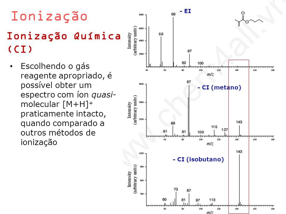 Ionização Ionização Química (CI) Escolhendo o gás reagente apropriado, é possível obter um espectro com íon quasi- molecular [M+H] + praticamente inta