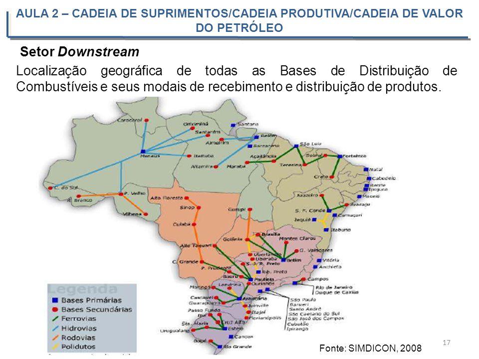 AULA 2 – CADEIA DE SUPRIMENTOS/CADEIA PRODUTIVA/CADEIA DE VALOR DO PETRÓLEO 17 Localização geográfica de todas as Bases de Distribuição de Combustívei