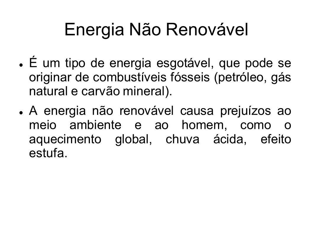 Energia Não Renovável É um tipo de energia esgotável, que pode se originar de combustíveis fósseis (petróleo, gás natural e carvão mineral). A energia