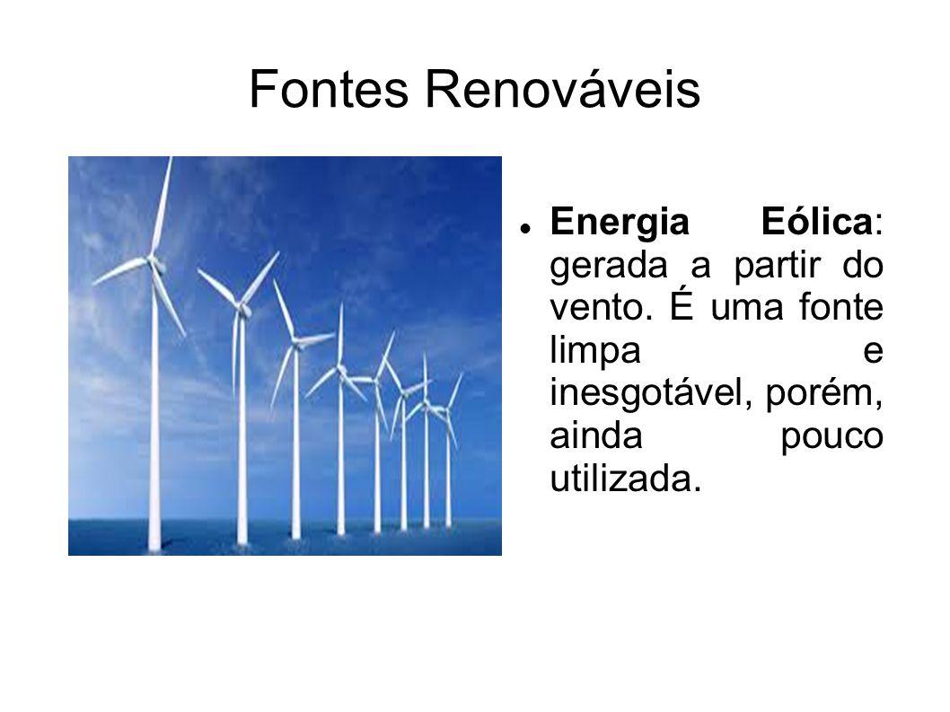 Fontes Renováveis Energia Eólica: gerada a partir do vento. É uma fonte limpa e inesgotável, porém, ainda pouco utilizada.