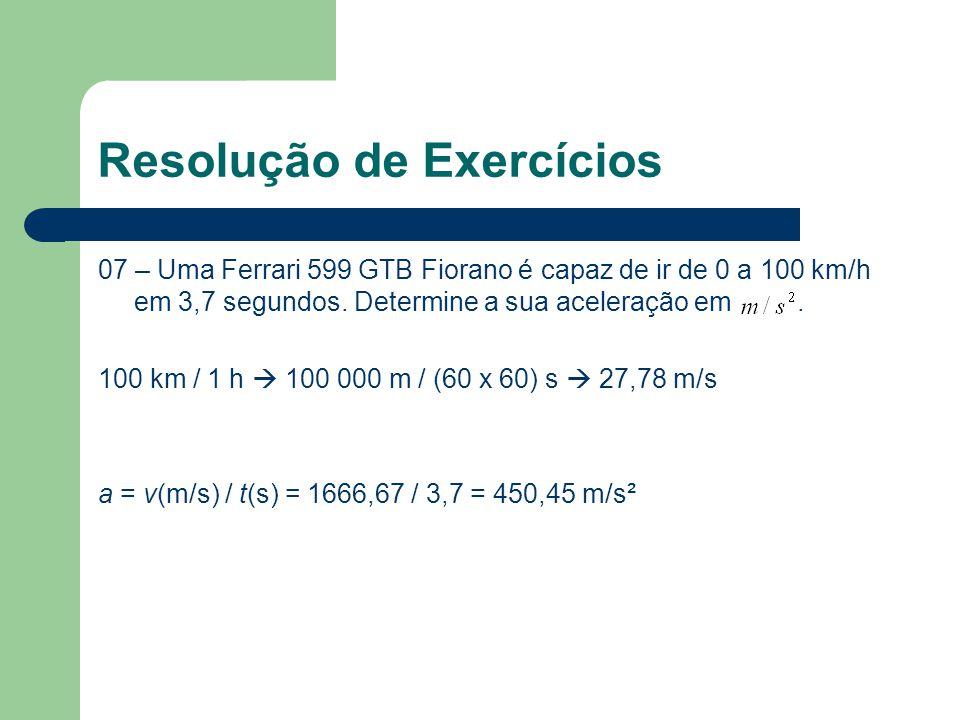 Resolução de Exercícios 07 – Uma Ferrari 599 GTB Fiorano é capaz de ir de 0 a 100 km/h em 3,7 segundos. Determine a sua aceleração em. 100 km / 1 h 