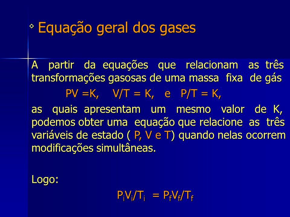 Equação geral dos gases ◊ A partir da equações que relacionam as três transformações gasosas de uma massa fixa de gás PV =K, V/T = K, e P/T = K, PV =K