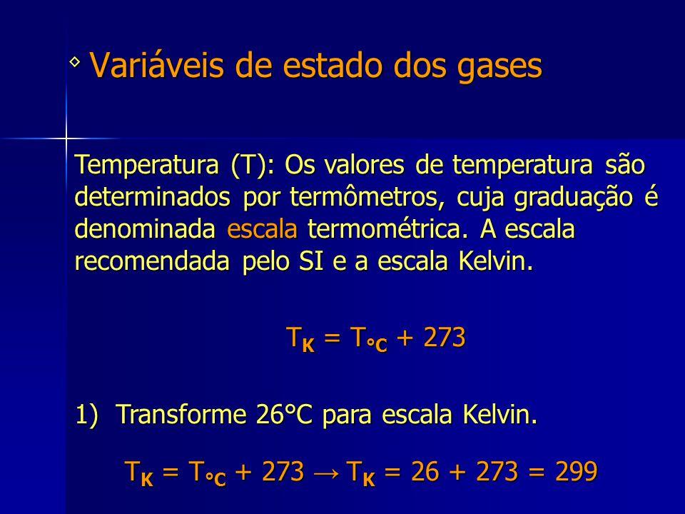 Variáveis de estado dos gases ◊ Temperatura (T): Os valores de temperatura são determinados por termômetros, cuja graduação é denominada escala termom
