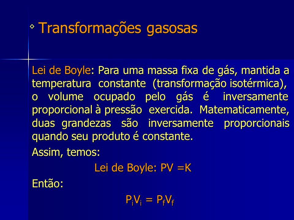 Transformações gasosas ◊ Lei de Boyle: Para uma massa fixa de gás, mantida a temperatura constante (transformação isotérmica), o volume ocupado pelo g