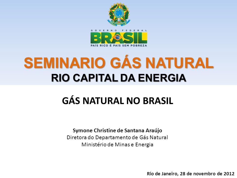 SEMINARIO GÁS NATURAL RIO CAPITAL DA ENERGIA GÁS NATURAL NO BRASIL Symone Christine de Santana Araújo Diretora do Departamento de Gás Natural Ministério de Minas e Energia Rio de Janeiro, 28 de novembro de 2012