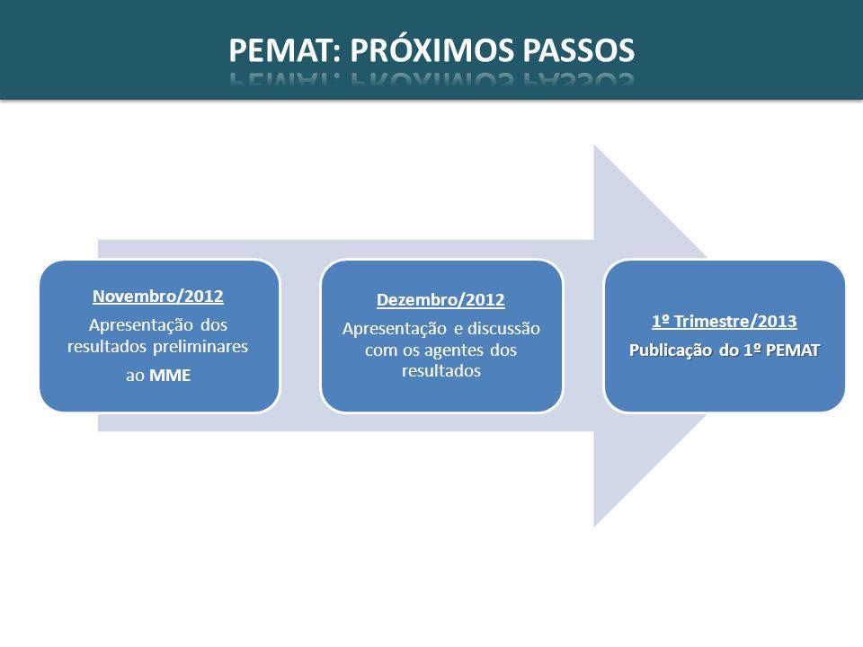 Novembro/2012 Apresentação dos resultados preliminares ao MME Dezembro/2012 Apresentação e discussão com os agentes dos resultados 1º Trimestre/2013 Publicação do 1º PEMAT