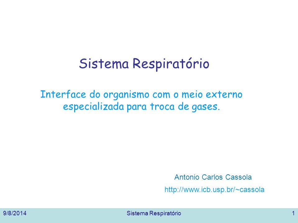 9/8/2014Sistema Respiratório1 Interface do organismo com o meio externo especializada para troca de gases. http://www.icb.usp.br/~cassola Antonio Carl