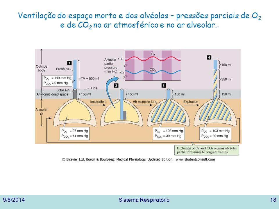 Ventilação do espaço morto e dos alvéolos – pressões parciais de O 2 e de CO 2 no ar atmosférico e no ar alveolar..