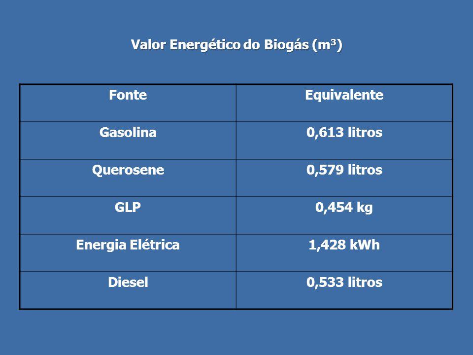 Valor Energético do Biogás (m 3 ) FonteEquivalente Gasolina0,613 litros Querosene0,579 litros GLP0,454 kg Energia Elétrica1,428 kWh Diesel0,533 litros