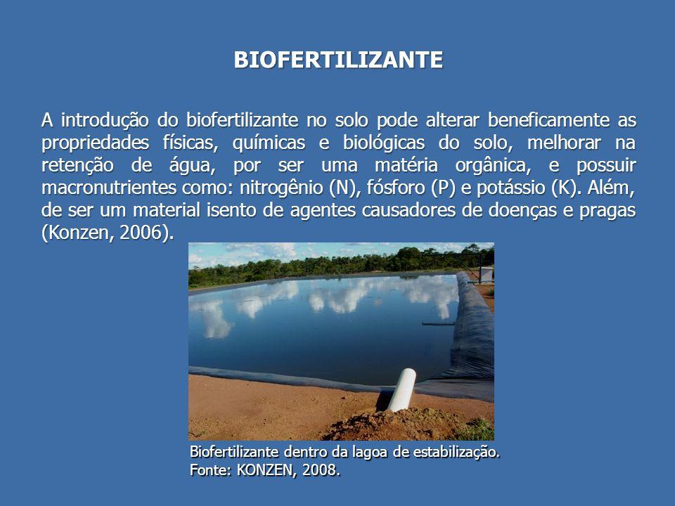 BIOFERTILIZANTE A introdução do biofertilizante no solo pode alterar beneficamente as propriedades físicas, químicas e biológicas do solo, melhorar na retenção de água, por ser uma matéria orgânica, e possuir macronutrientes como: nitrogênio (N), fósforo (P) e potássio (K).