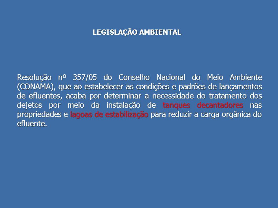 LEGISLAÇÃO AMBIENTAL Resolução nº 357/05 do Conselho Nacional do Meio Ambiente (CONAMA), que ao estabelecer as condições e padrões de lançamentos de e