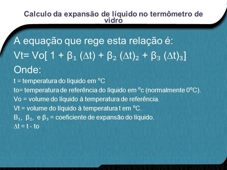 Calculo da expansão de líquido no termômetro de vidro A equação que rege esta relação é: Vt= Vo[ 1 + β ₁ (∆t) + β ₂ (∆t) ₂ + β ₃ (∆t) ₃ ] Onde: t = te