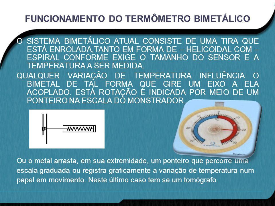 FUNCIONAMENTO DO TERMÔMETRO BIMETÁLICO O SISTEMA BIMETÁLICO ATUAL CONSISTE DE UMA TIRA QUE ESTÁ ENROLADA,TANTO EM FORMA DE – HELICOIDAL COM – ESPIRAL