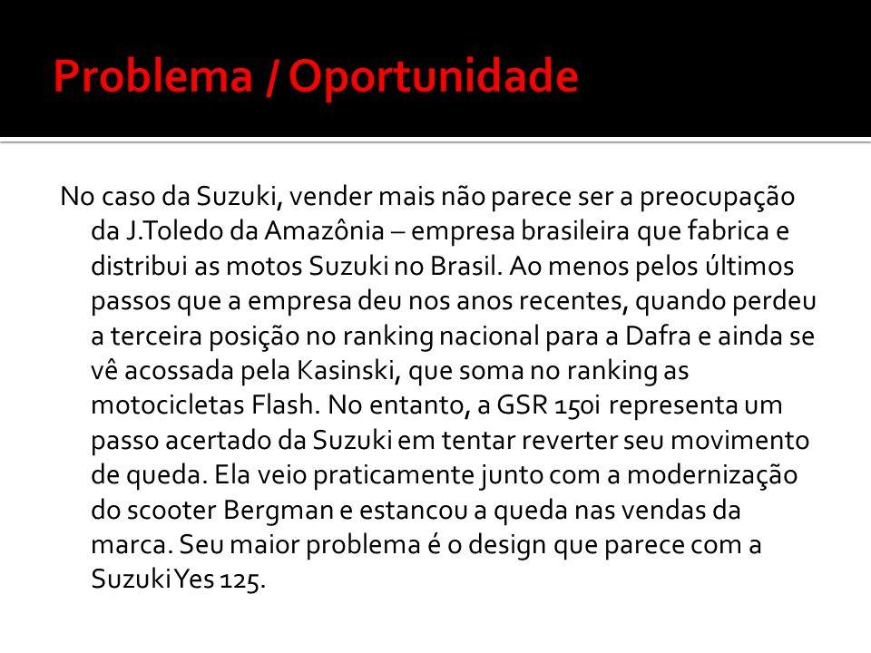 No caso da Suzuki, vender mais não parece ser a preocupação da J.Toledo da Amazônia – empresa brasileira que fabrica e distribui as motos Suzuki no Br