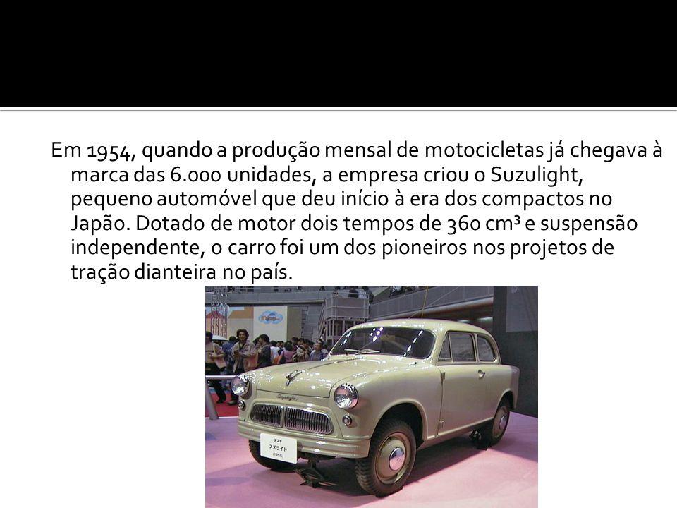 Em 1954, quando a produção mensal de motocicletas já chegava à marca das 6.000 unidades, a empresa criou o Suzulight, pequeno automóvel que deu início