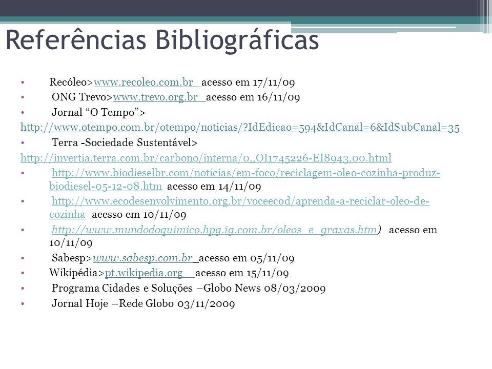 Referências Bibliográficas Recóleo>www.recoleo.com.br acesso em 17/11/09 ONG Trevo>www.trevo.org.br acesso em 16/11/09 Jornal O Tempo > http://www.otempo.com.br/otempo/noticias/?IdEdicao=594&IdCanal=6&IdSubCanal=35 Terra -Sociedade Sustentável> http://invertia.terra.com.br/carbono/interna/0,,OI1745226-EI8943,00.html http://www.biodieselbr.com/noticias/em-foco/reciclagem-oleo-cozinha-produz- biodiesel-05-12-08.htm acesso em 14/11/09http://www.biodieselbr.com/noticias/em-foco/reciclagem-oleo-cozinha-produz- biodiesel-05-12-08.htm http://www.ecodesenvolvimento.org.br/voceecod/aprenda-a-reciclar-oleo-de- cozinha acesso em 10/11/09http://www.ecodesenvolvimento.org.br/voceecod/aprenda-a-reciclar-oleo-de- cozinha http://www.mundodoquimico.hpg.ig.com.br/oleos_e_graxas.htm) acesso em 10/11/09http://www.mundodoquimico.hpg.ig.com.br/oleos_e_graxas.htm Sabesp>www.sabesp.com.br acesso em 05/11/09 Wikipédia>pt.wikipedia.org acesso em 15/11/09 Programa Cidades e Soluções –Globo News 08/03/2009 Jornal Hoje –Rede Globo 03/11/2009