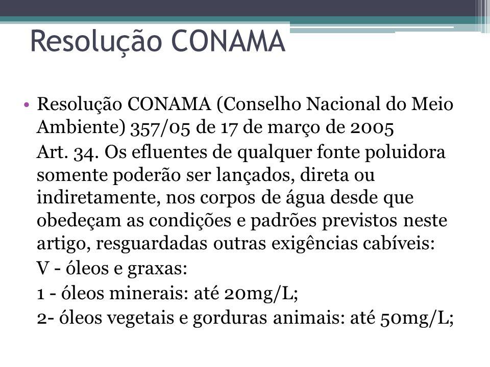 Resolução CONAMA Resolução CONAMA (Conselho Nacional do Meio Ambiente) 357/05 de 17 de março de 2005 Art.