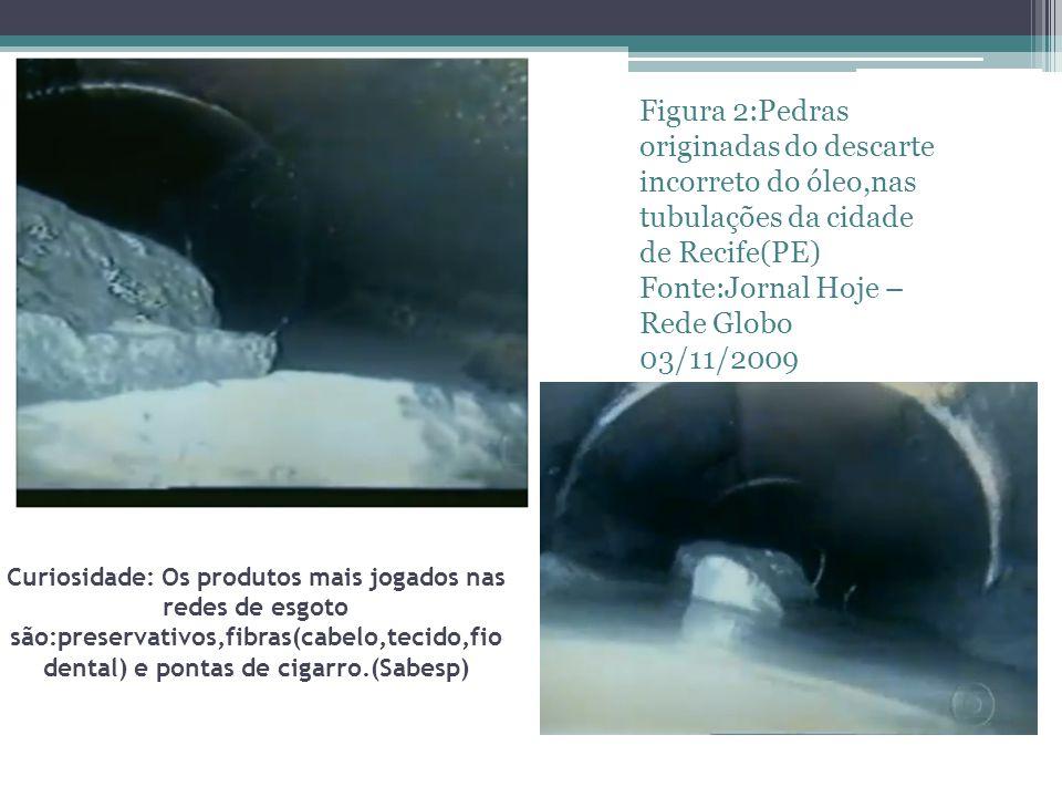 Curiosidade: Os produtos mais jogados nas redes de esgoto são:preservativos,fibras(cabelo,tecido,fio dental) e pontas de cigarro.(Sabesp) Figura 2:Pedras originadas do descarte incorreto do óleo,nas tubulações da cidade de Recife(PE) Fonte:Jornal Hoje – Rede Globo 03/11/2009