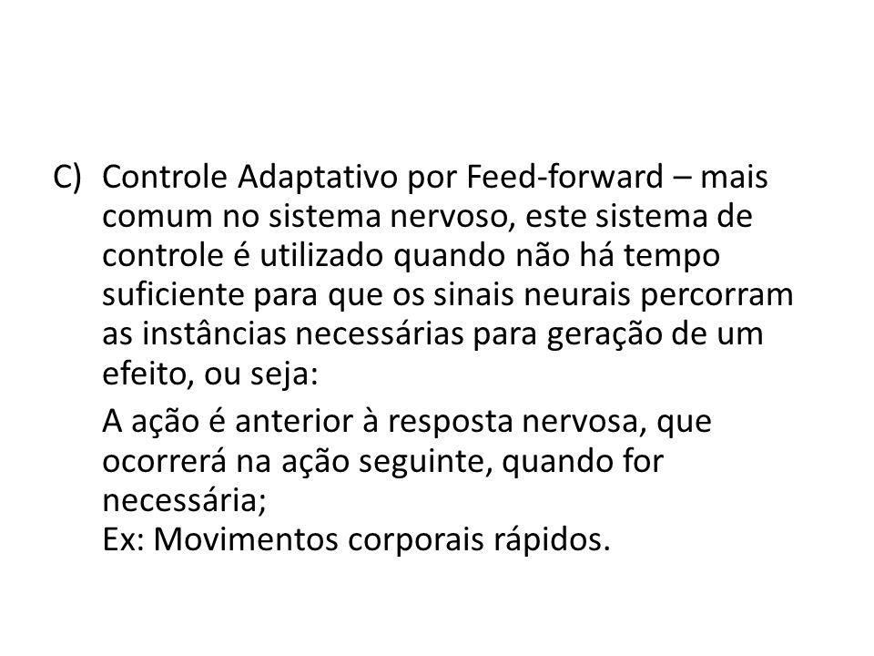 C)Controle Adaptativo por Feed-forward – mais comum no sistema nervoso, este sistema de controle é utilizado quando não há tempo suficiente para que o