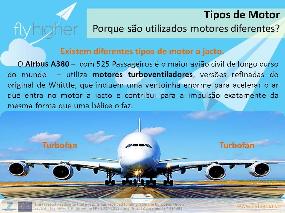 www.flyhigher.eu Existem diferentes tipos de motor a jacto. O Airbus A380 – com 525 Passageiros é o maior avião civil de longo curso do mundo – utiliz