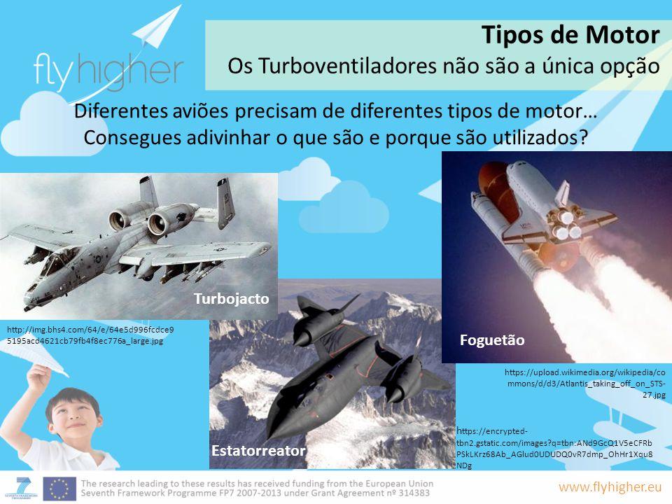 www.flyhigher.eu Diferentes aviões precisam de diferentes tipos de motor… Consegues adivinhar o que são e porque são utilizados? Estatorreator Turboja