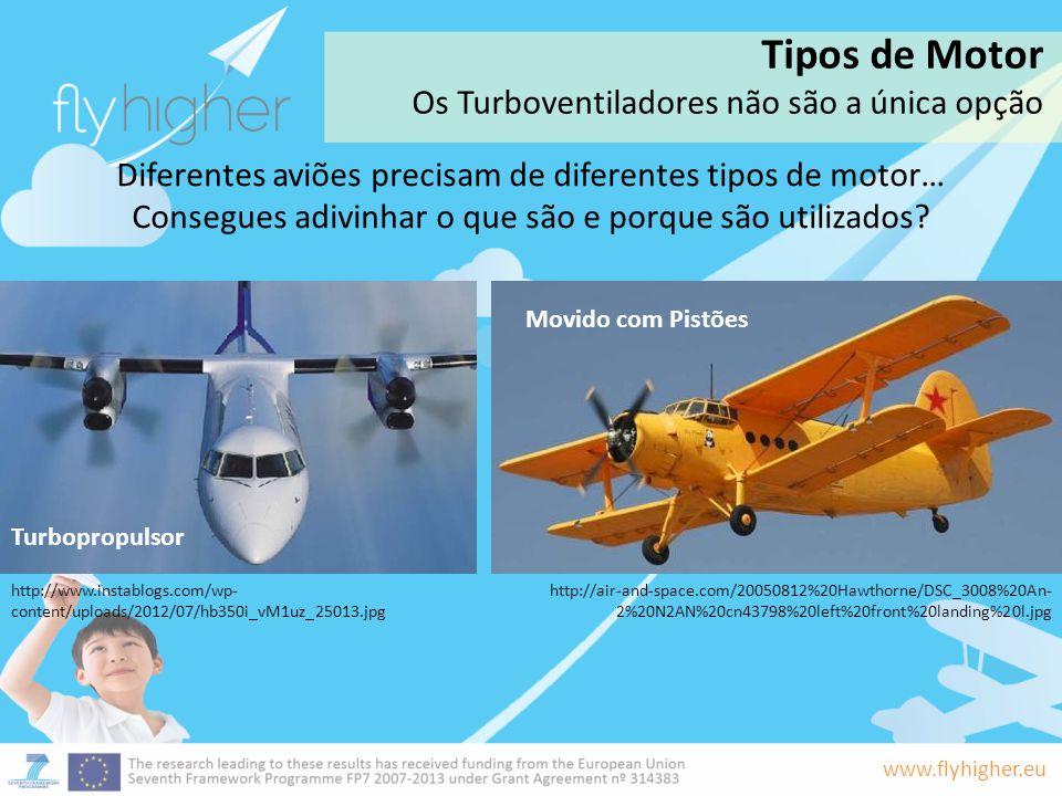 www.flyhigher.eu Diferentes aviões precisam de diferentes tipos de motor… Consegues adivinhar o que são e porque são utilizados? Turbopropulsor Movido