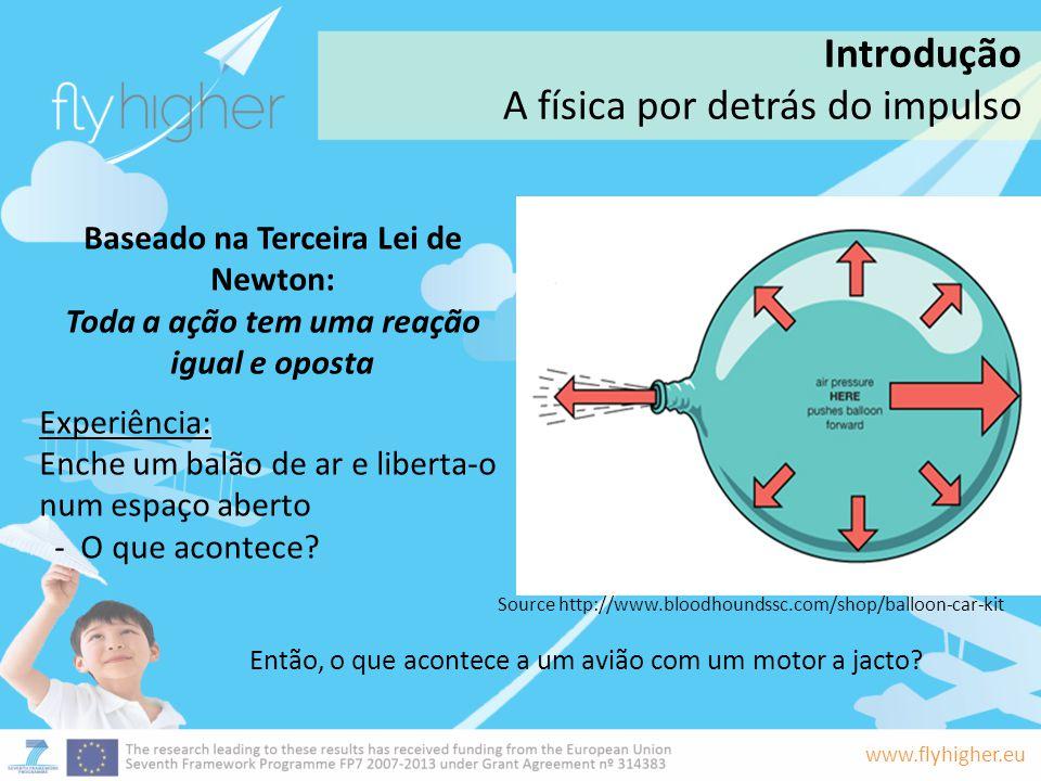 www.flyhigher.eu Os gases de exaustão dos motores a jacto do avião empurram o ar, o que por sua vez produz uma reação oposta nos motores.
