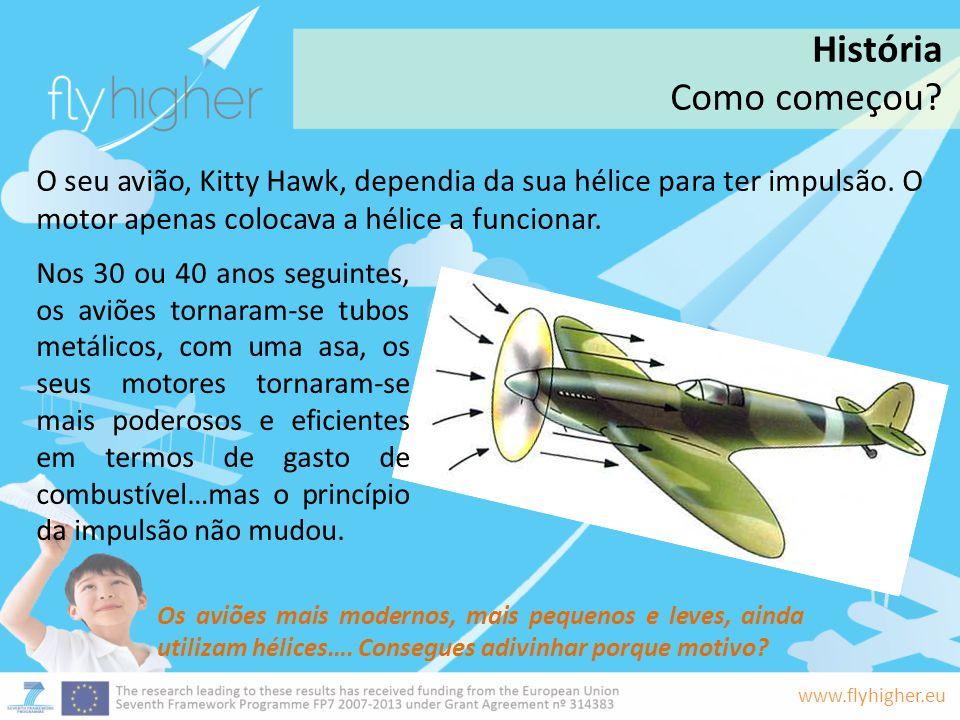 www.flyhigher.eu O seu avião, Kitty Hawk, dependia da sua hélice para ter impulsão. O motor apenas colocava a hélice a funcionar. Os aviões mais moder